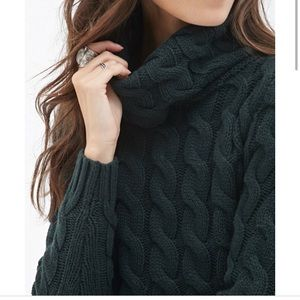 Long forest green cable knit sweater!